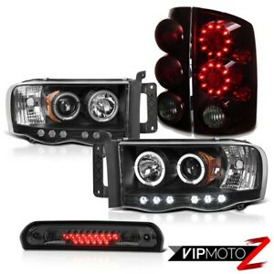 Halo Projector Headlights Rear Tail Lights Led High Stop Smoke 02 05 Dodge Ram
