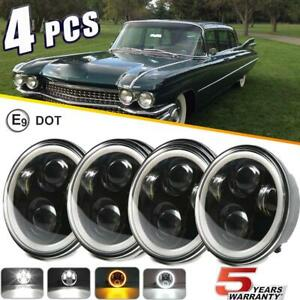 Dot 5 75 5 3 4 Round Led Headlights 4pc For Cadillac Fleetwood Series 60 62