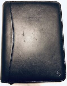 Vtg Black Nappa Leather Franklin Covey Planner With Original Papers