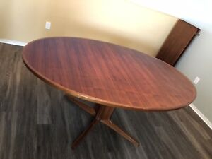 Mid Century Bernhard Pedersen Son Danish Dining Room Conference Table 2 Leaves