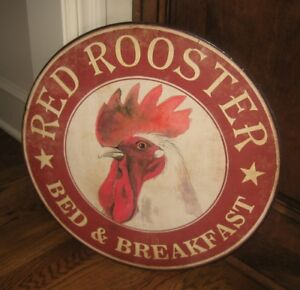 Red Rooster Farmhouse Bed Breakfast Sign Primitive French Country Kitchen Decor