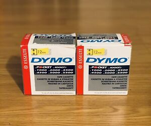 Lot Of 2 Esselte Dymo Tape Cassette Black clear 45010 5 pack 12mm Cartridges