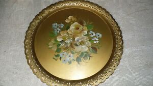 Vintage Metal Toleware Floral Roses Handpainted Articulated Gold Tray Signed