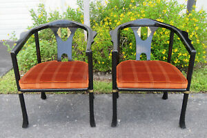 Hollywood Regency Painted Pair Of Living Bed Room Side Chairs By Ce
