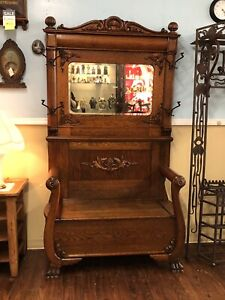 Antique Oak Hall Tree With Beveled Mirror Bench Seat And Original Coat Hooks
