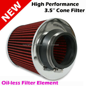 High Performance High Flow 3 5 Inch Universal Intake Cone Filter Red With Clamp