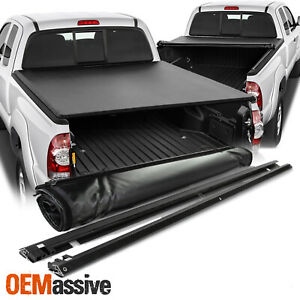 For 1989 1995 Toyota Pickup 95 04 Tacoma 6 Feet Bed Black Roll Up Tonneau Cover