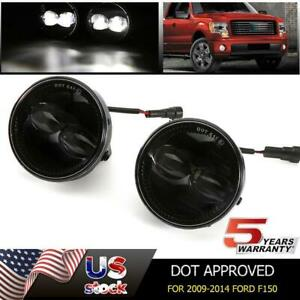 For 2009 2014 Ford F150 Led Fog Lights Pair Round Bumper Driving Lamp Smoke Lens