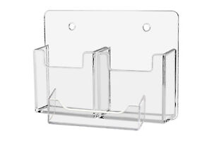 Business Card Holder 3 Pocket Clear 2 Vertical 1 Horizontal Wall Mount Qty 12