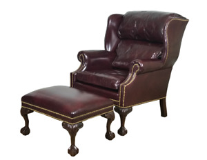 Hancock Moore Wing Back Chair With Ottoman Red Oxblood Leather Claw Feet