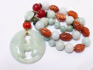 Chinese Vintage Carved Jade Agate Beads Necklace Pendant