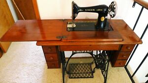 Vtg 1927 Singer Treadle Sewing Machine Table Cabinet Cast Iron Stand Extras