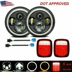 7 Led Headlights Halo Angle Eye Tail Brake Lights For Jeep Wrangler Cj Jk Tj