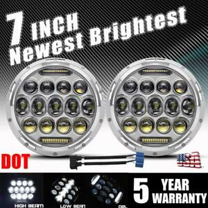 Pair 7 Inch Round Led Headlights Chrome Hi lo For Chevy C10 Camaro Pickup Truck