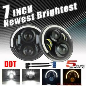 7 In Round Led Headlights Halo Turn Signal For Chevrolet C10 Camaro Pickup Truck