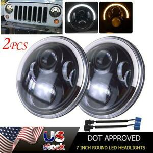 Pair 7 Inch Round Led Headlight Fit For 97 18 Jeep Wrangler Jk Led Offroad Light