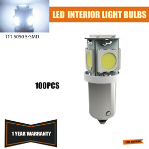 100 Pure White T11 Wedge 5 smd Led Bulb Interior Instrument Panel Light T4w Q65b