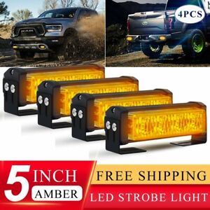 4x 20w Amber Led Yellow Emergency Warning Strobe Lights Bars For Deck Dash Grill