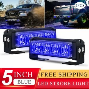 Pair 20w Blue Led Emergency Warning Strobe Lights Bars For Deck Dash Grill