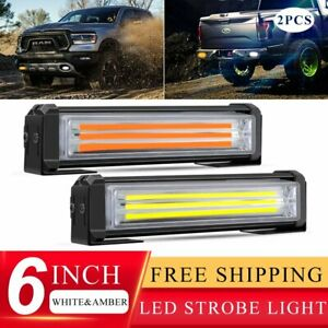 2x White Amber Led Emergency Warning Strobe Lights Bars Deck Dash Grill Truck