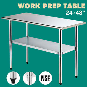 24 x 48 Work Prep Table Commercial Stainless Steel Food Kitchen Restaurant