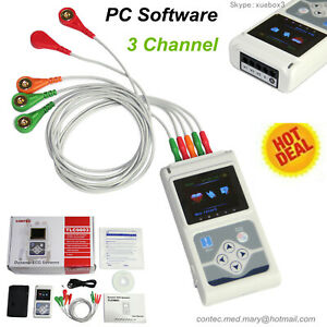 Usa Fedex 24 Hours 3 Channel Ecg ekg Holter Monitor System Software contec New