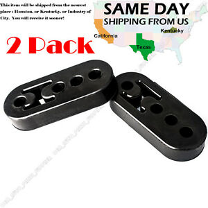 Performance Polyurethane Adjustable Muffler Black Exhaust Hangers Universal 2