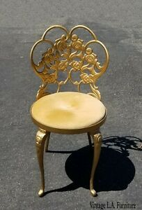 Vintage Hollywood Regency Gold Velvet Vanity Accent Chair French Provincial