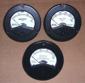 Three New nos Weston Meters 0 30 Amperes 0 250 Dc 0 150 Ac Highest Quality