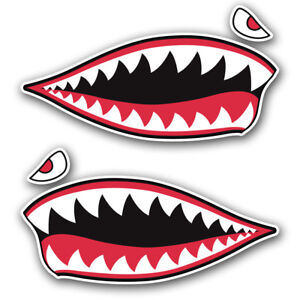 2pc Shark Teeth Sticker Vinyl Decal Set Hard Hat Motorcycle Helmet Toolbox Car