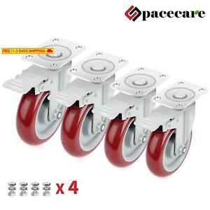 Spacecare 4 Pack 5 Inch Swivel Red Casters 1420lbs Heavy Duty Polyurethane Wheel