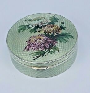 Large Guilloch Enamel Silver Box With Gold Interior Chrysanthemum Top