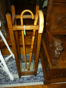 Antique Umbrella Stand Oak With Copper Tray Mission 1900 S Refinished