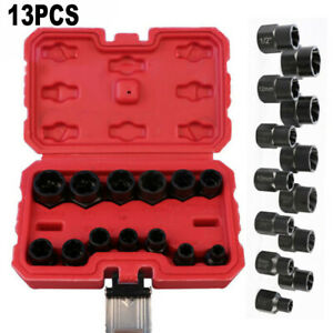 13pcs Bolt Nut Extractor Remover Sleeve Impact Metal Wrench Tools Replacement