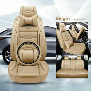 Deluxe Car Seat Cover Leather Front Rear Pillow steering Wheel Cover Cushion Set