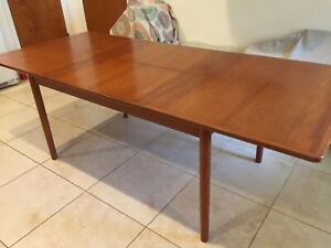 Vintage 60 S Danish Modern Teak Dining Table Butterfly Leaf Mid Century Mcm