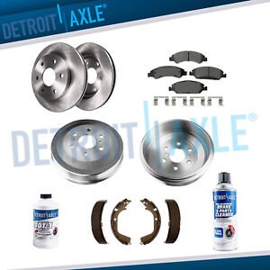 Front Rotors Ceramic Pads Rear Drums Shoes 2009 2013 Silverado Sierra 1500