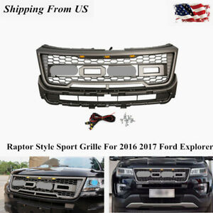 Fit For 16 17 Ford Explorer Raptor Style Sport Mesh Front Grille Gray