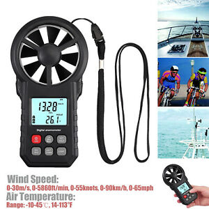 Lcd Digital Anemometer Wind Speed Meter Air Flow Volume Hand Gague Thermomoter