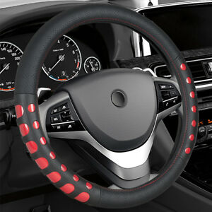14 5 15 Synthetic Leather Steering Wheel Cover Black Red For Car Truck Sedan