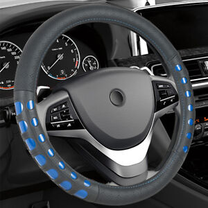 14 5 15 Synthetic Leather Steering Wheel Cover Black Blue For Car Truck Sedan