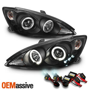 Fits 2002 2006 Toyota Camry Le Se Dual Halo Projector Black Headlights 6000k Hid
