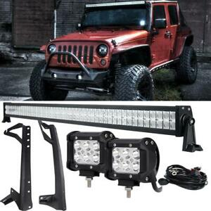 For 07 17 Jeep Jk Wrangler 52 Led Light Bar wiring Kit windshield Mount Bracket