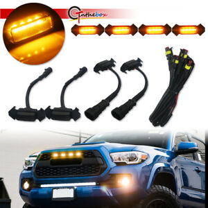 Smoked Front Grille Amber Led Lights Kit For 16 Up Toyota Tacoma W Trd Pro Grill