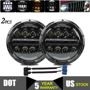 Pair 7 Inch Round Led Headlight Hi lo Sealed Beam Projector Offroad For Jeep Gmc