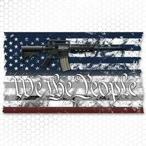 We The People American Flag Sticker Decal Tattered 2nd Amendment Ar15 Gun Jeep