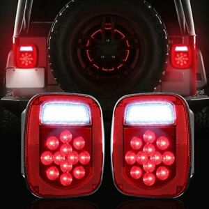 Led Tail Lights Stop Reverse Rear Brake Lamps Turn For Jeep Wrangler Tj Cj 76 06