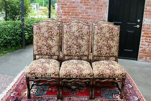 French Antique Upholstered Set Of 6 Louis Xiv Dining Room Chairs