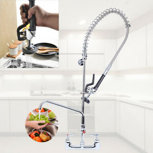 12 Commercial Wall Mount Pre rinse Faucet Hotel Kitchen Add on Pull Down Faucet