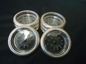 Vintage Crown Sterling Glass Coasters Lot Of 8